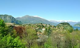 Panoramic view to Bellagio peninsula in spring. Stock Images