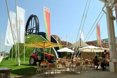 Panoramic view to the Belorussia EXPO Milano 2015 pavilion. Royalty Free Stock Photos