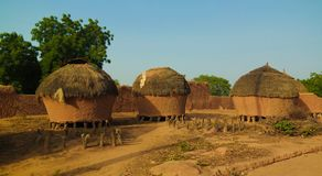 Panoramic view to Bkonni village of Hausa people, Tahoua, Niger royalty free stock images