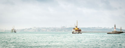 Panoramic view to the Bosphorus in Istanbul, Turkey Royalty Free Stock Photo