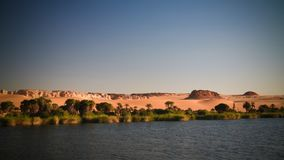 Panoramic view to Boukkou lake group of Ounianga Serir lakes at the Ennedi, Chad. Panoramic view to Boukkou lake group of Ounianga Serir lakes , Ennedi, Chad royalty free stock image