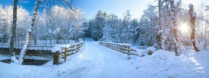 Panoramic view to bridge in winter Royalty Free Stock Image