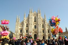 Panoramic view to Carnival celebration from Duomo square. Royalty Free Stock Images