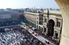 Panoramic view to Carnival procession from Duomo viewpoint. Stock Image