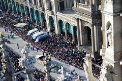 Panoramic view to Carnival procession in Milan Duomo square. Royalty Free Stock Photo