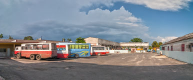 Panoramic view to Cienfuegos bus station with buses Stock Photo
