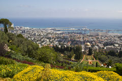 Panoramic View to City of Haifa in Israel Stock Photography