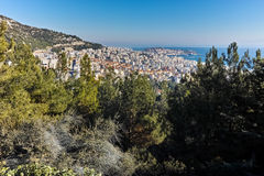Panoramic view to city of Kavala, East Macedonia and Thrace Stock Photo