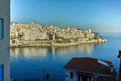 Panoramic view to city of Kavala, East Macedonia and Thrace Royalty Free Stock Photo
