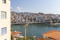 Panoramic view to city of Kavala, Greece. KAVALA, GREECE - JUNE 22, 2019: Panoramic view to city of Kavala, East Macedonia and Thrace, Greece royalty free stock photography