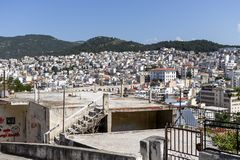 Panoramic view to city of Kavala, Greece. KAVALA, GREECE - JUNE 22, 2019: Panoramic view to city of Kavala, East Macedonia and Thrace, Greece royalty free stock image