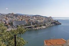 Panoramic view to city of Kavala, Greece. KAVALA, GREECE - JUNE 22, 2019: Panoramic view to city of Kavala, East Macedonia and Thrace, Greece stock photography