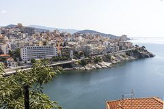 Panoramic view to city of Kavala, Greece. KAVALA, GREECE - JUNE 22, 2019: Panoramic view to city of Kavala, East Macedonia and Thrace, Greece stock photo