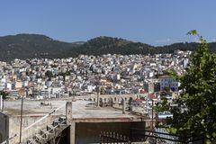 Panoramic view to city of Kavala, Greece. KAVALA, GREECE - JUNE 22, 2019: Panoramic view to city of Kavala, East Macedonia and Thrace, Greece royalty free stock photo