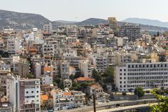 Panoramic view to city of Kavala, Greece. KAVALA, GREECE - JUNE 22, 2019: Panoramic view to city of Kavala, East Macedonia and Thrace, Greece royalty free stock images