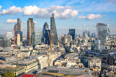 Panoramic view to City of London from St Paul cathedral Royalty Free Stock Images