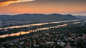 Panoramic view to the city sunset in Vienna stock video footage