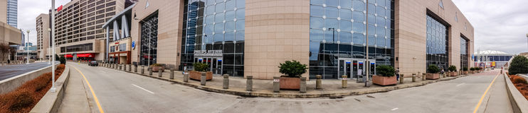 Panoramic view to CNN Center and Philips Arena Stock Photography