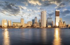 Panoramic view to the district of London, Canary Wharf, United Kingdom stock photos