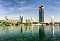 Panoramic view to the Donau City, Vienna Stock Image