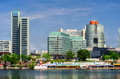 Panoramic view to the Donau City, Vienna stock photography