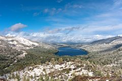 Panoramic view to Donner lake from Donner Pass, Sierra Nevada, Lake Tahoe area Stock Photos