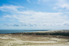 A panoramic view to dunes of national park of Curonian Spit and Curonian Lagoon Royalty Free Stock Photography