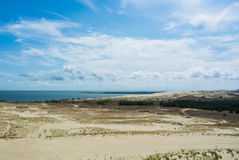A panoramic view to dunes of national park of Curonian Spit and Curonian Lagoon Stock Photo