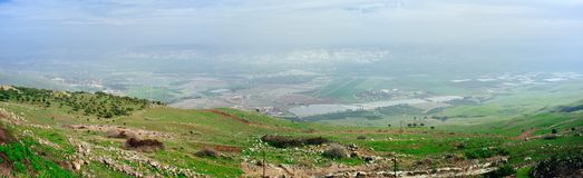 Holy land Series - Jordan Valley Panorama 2. A panoramic view to the east from the slopes of Ramat Tzva`im Deer heights in the eastern part Yizrael Valley look Royalty Free Stock Photos