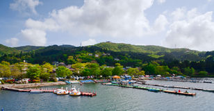 Panoramic view to embankment in Hakone lake Stock Image