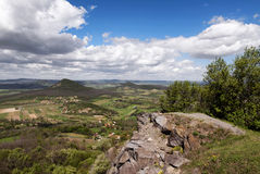 Panoramic view to extinct volcanoes,Hungary Stock Images