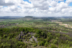 Panoramic view to extinct volcanoes, Hungary Stock Photography