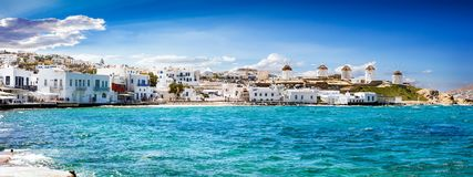 Panoramic view to the famous windmills of Mykonos. Cyclades, Greece stock images