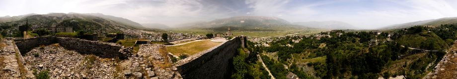 360 Panoramic view to Gjirokastra castle with the wall, tower and Clock, Gjirokaster, Albania. 360 degrees Panoramic view to Gjirokastra castle with the wall stock photos