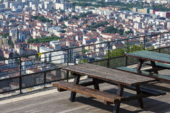 Panoramic view to Grenoble, France from the restaurant of Bastil Royalty Free Stock Photography