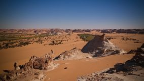 Panoramic view to group of Ounianga Serir lakes at the Ennedi, Chad. Aerial Panoramic view to of Ounianga Serir lakes , Ennedi, Chad stock photography