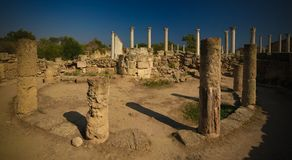 Panoramic view to gymnasium and Thermae at Salamis ruins, Cyprus. Panoramic view to gymnasium and Thermae at Salamis ruins at Cyprus stock photo