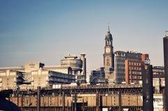 Panoramic view to Hamburg harbour Stock Image