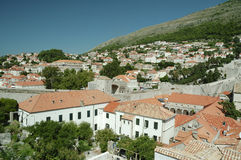 Panoramic view to historical buildings in the old town of Dubrovnik Royalty Free Stock Photos