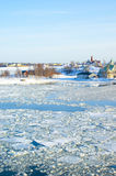 View to the ice drift and the islands in Helsinki Stock Photos