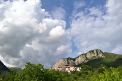 A panoramic view to Italian Alps. Royalty Free Stock Photo