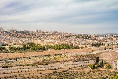 Panoramic view to Jerusalem old city. Royalty Free Stock Image