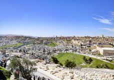 Panoramic view to Jerusalem Old city Royalty Free Stock Images