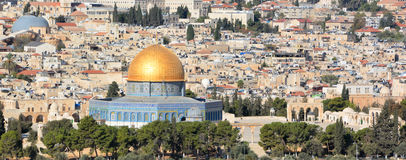Panoramic view to Jerusalem Old city Stock Images
