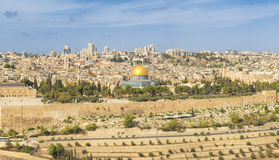 Panoramic view to Jerusalem Old city and the Temple Mount Stock Photo
