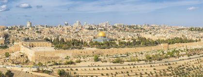 Panoramic view to Jerusalem Old city and the Temple Mount Royalty Free Stock Photography