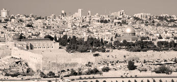 Panoramic view to Jerusalem Old city and the Temple Mount, Stock Photo