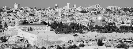 Panoramic view to Jerusalem Old city and the Temple Mount, Royalty Free Stock Images