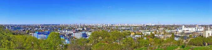 Panoramic view to Kiev, Kyiv, Ukraine. Tatarka district, industrial zone buildings, sunny spring day