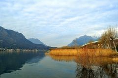 Panoramic view to lake Como district near Lecco in a beautiful sunny day. Royalty Free Stock Photography